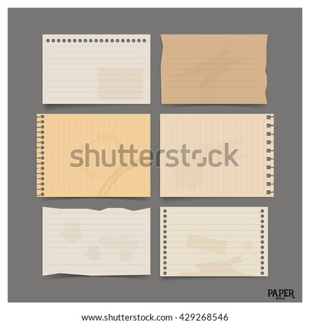 Collection of old paper sheets, ready for your message. Vector illustration.