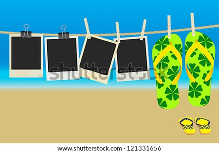 Collection of Old Retro Blank Photo Frames and Flip Flops Hanging on Rope - Summer Beach in Background - stock vector