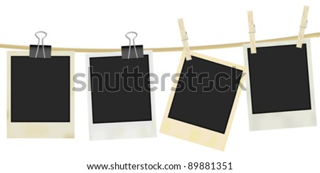 Collection of Old Retro Blank Photo Frames Hanging on Rope - Isolated on White - stock vector