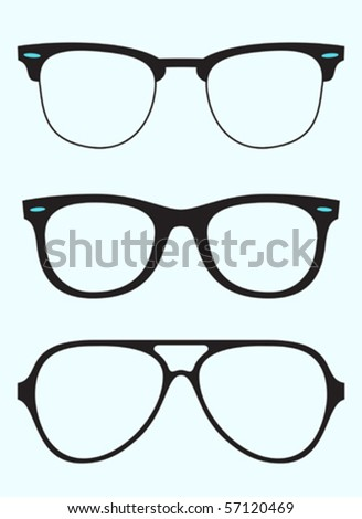 collection of oldschool glasses - stock vector