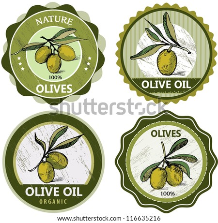 Collection of olive labels - stock vector