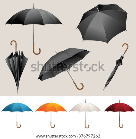 Collection of opened, folded, top view vector black umbrellas  - stock vector