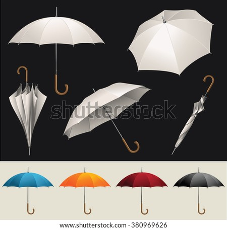 Collection of opened, folded, top view vector umbrellas  - stock vector