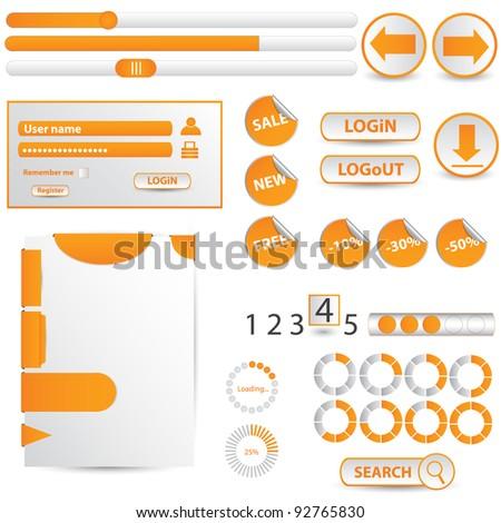 Collection of orange website elements - stock vector