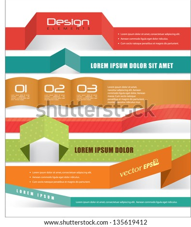 Collection of origami banner design - stock vector