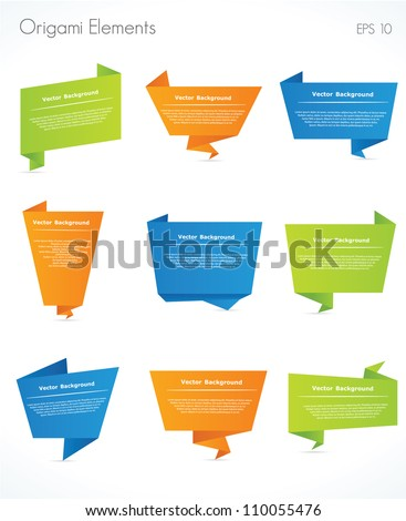 Collection of origami speech bubble vector background - stock vector