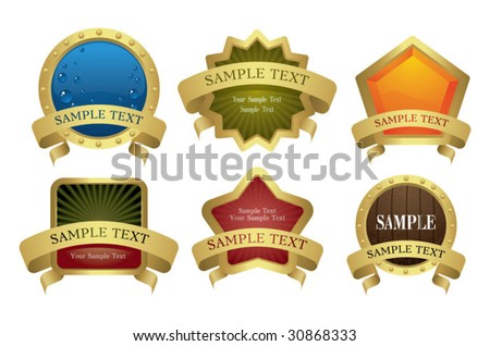 collection of original gold frames - stock vector