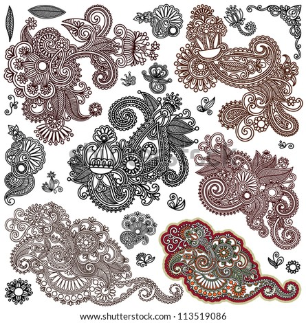 collection of original hand draw line art ornate flower design. Ukrainian traditional style - stock vector