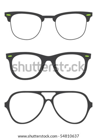 collection of original ray ban glasses - stock vector