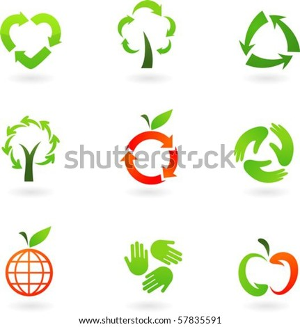 Collection  of original recycling icons - stock vector