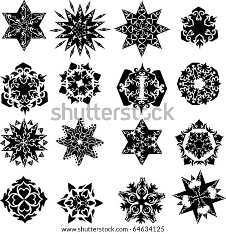 collection of ornament vector stars and snowflakes - stock vector