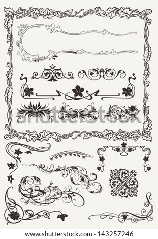 Collection of Ornamental Borders And Elements in Ancient Design styles - stock vector