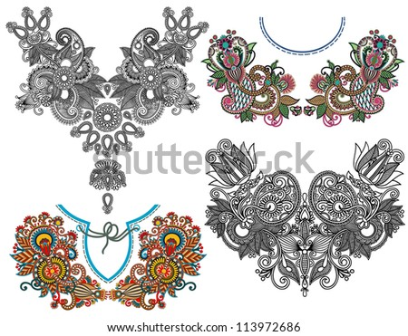 collection of ornamental floral neckline embroidery fashion, ukrainian traditional style - stock vector