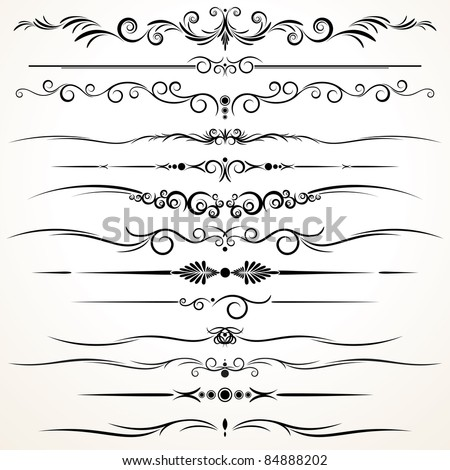 Collection ornamental rule lines different design stock for Different design styles
