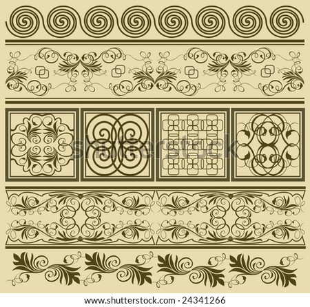 collection of ornaments 3 - stock vector