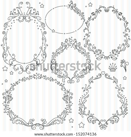 Collection of ornate vector frames - stock vector