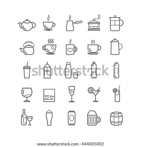 Collection of outline drinks icons for web and mobile apps