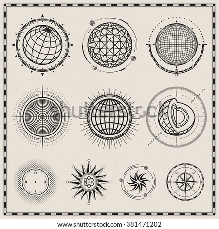 Collection of outline globes, spheres and compass symbol design. - stock vector
