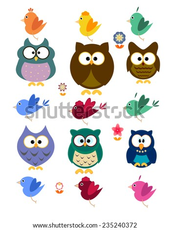 Collection of owl and bird - stock vector