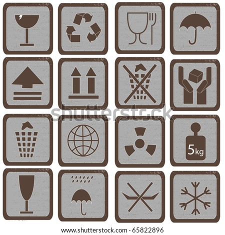 Collection of packing box grange symbols - vector illustration