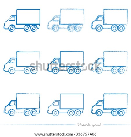 Collection of painted delivery truck vectors with different tools like brushes, chalk, ink, pen. Blue grungy logistic shapes isolated on white background. - stock vector