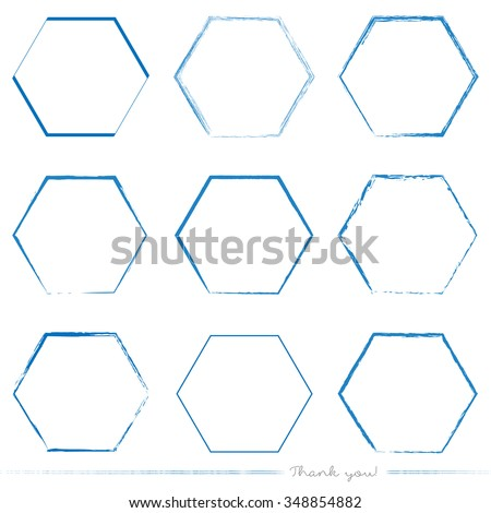 Collection of painted hexagon vectors with different tools like brushes, chalk, ink, pen. Blue grungy hexagon geometric shapes isolated on white background. - stock vector