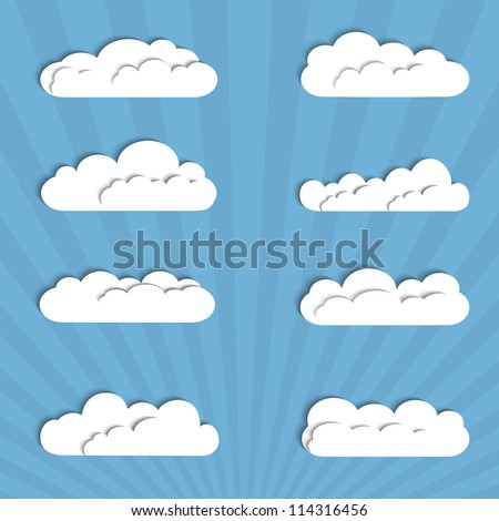 Collection of paper clouds. Vector illustration - stock vector