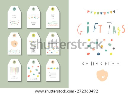 Collection of party hand tags. Cute hand drawn set for any occasion.  Wedding, anniversary, birthday, Valentin's day. Isolated. - stock vector