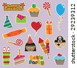 collection of party stickers - stock photo
