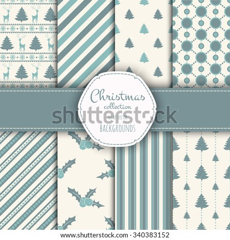 Collection of patterns. Merry Christmas and Happy New Year! Set of seamless backgrounds with traditional symbols:  snowflakes, pine tree,holly berry and suitable abstract patterns.  - stock vector