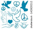 Collection of peace and love themed icons with white doves flying carrying olive branches, v-sign hand gesture, handshake of friendship, hearts, a cupped nurturing hand and v-sign antiwar icon - stock