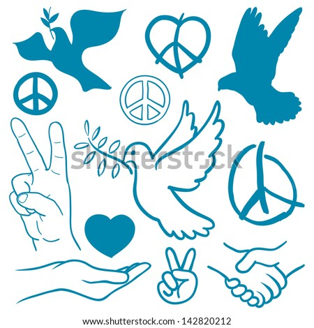Collection of peace and love themed icons with white doves flying carrying olive branches, v-sign hand gesture, handshake of friendship, hearts, a cupped nurturing hand and v-sign antiwar icon - stock vector