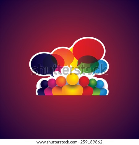 collection of people icons of leadership, friendship - vector concept. this also represents social media communication, internet or web chat, social networking & interaction, online community, forums - stock vector