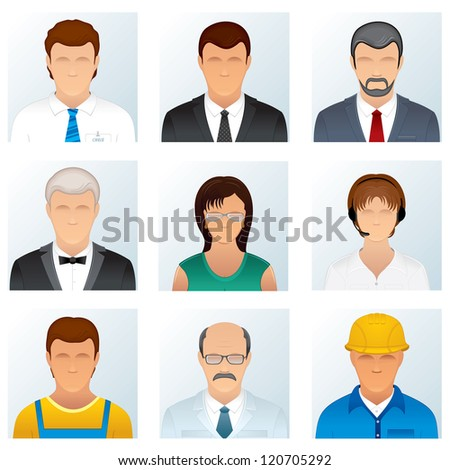 Collection of People Occupations. Abstract Avatars of Professional People Wearing in Various Uniforms and Costumes. - stock vector
