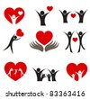 Collection of people with hearts - couple, family and health concepts. Vector illustration - stock photo