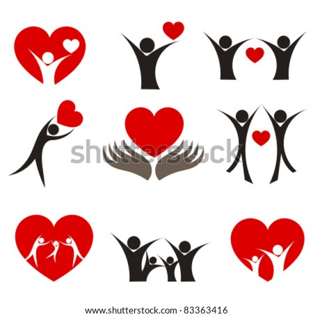Collection of people with hearts - couple, family and health concepts. Vector illustration - stock vector