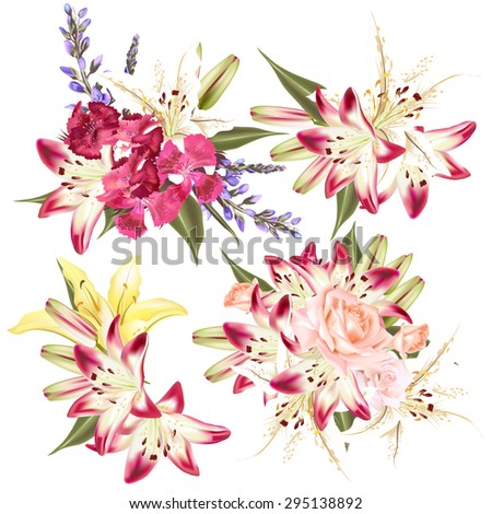 Collection of perfect vector flowers lily, roses and pink - stock vector