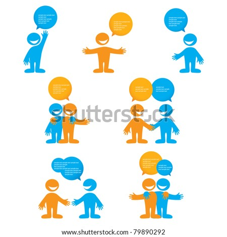 collection of person with bubbles for dialogue. Vector. - stock vector