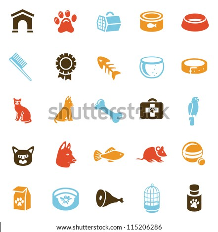 Collection of pet care icons - vector cats and dogs - stock vector