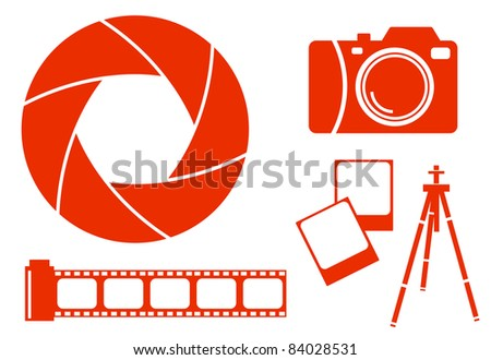 Collection of photography icons - stock vector