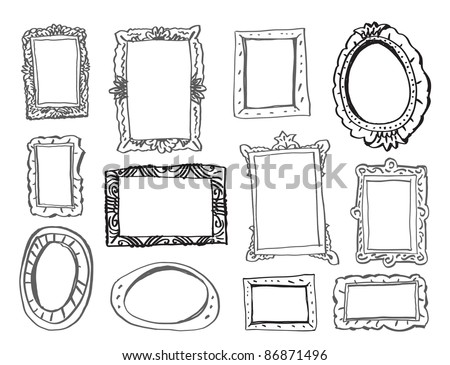 Collection of 12 picture frames for any pictures. - stock vector