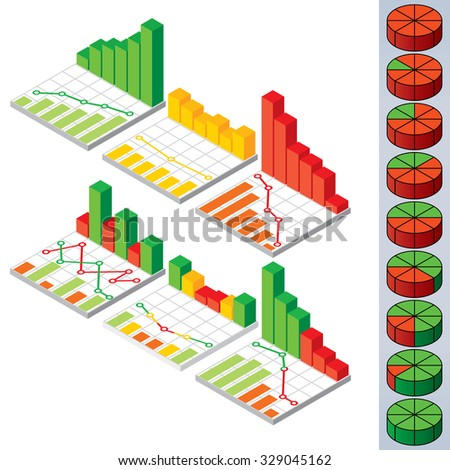 Collection of Pie Charts and Graphs. Vector Elements for your Design. - stock vector