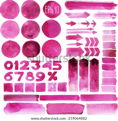 Collection of pink watercolor design elements isolated on white background - stock vector