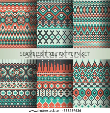 Collection of pixel colorful seamless patterns with stylized Greenland national ornament. Vector illustration. - stock vector