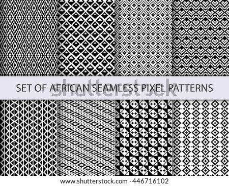 Collection of pixel retro seamless patterns with african ethnic and tribal ornament. Vector black and white boho ornaments collection.