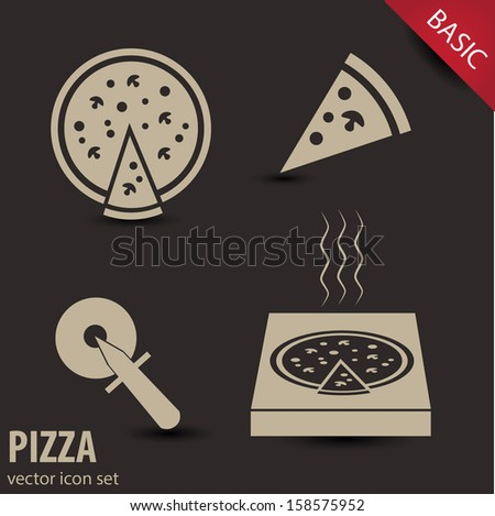 Collection of 4 pizza icons. VECTOR illustration. - stock vector