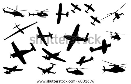 collection of plane and helicopter vector - stock vector