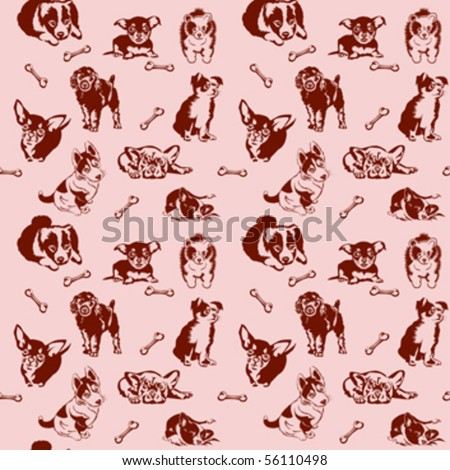 Collection of playing dogs of different breeds. Seamless. - stock vector