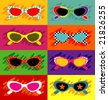 Collection of pop art sunglasses - stock photo