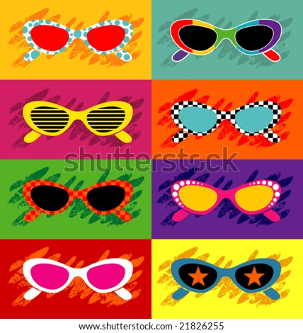 Collection of pop art sunglasses - stock vector